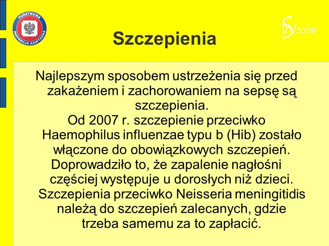 Szczepienia Najlepszym sposobem ustrzeżenia się przed zakażeniem i zachorowaniem na sepsę są szczepienia. Od 2007 r. szczepienie przeciwko Haemophilus