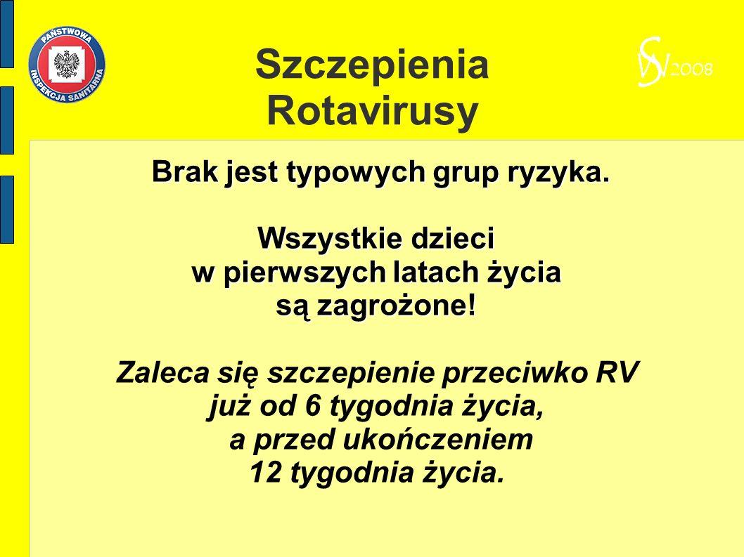 Szczepienia Rotavirusy Brak jest typowych grup ryzyka. Brak jest typowych grup ryzyka. Wszystkie dzieci w pierwszych latach życia są zagrożone! Zaleca