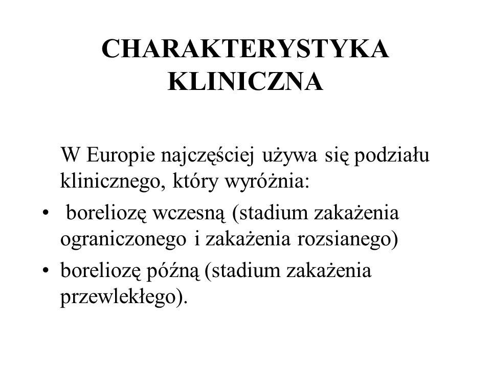 CHARAKTERYSTYKA KLINICZNA W Europie najczęściej używa się podziału klinicznego, który wyróżnia: boreliozę wczesną (stadium zakażenia ograniczonego i z
