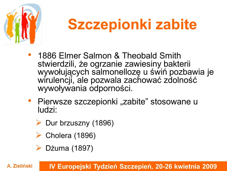 IV Europejski Tydzień Szczepień, 20-26 kwietnia 2009 A. Zieliński Szczepionki zabite 1886 Elmer Salmon & Theobald Smith stwierdzili, że ogrzanie zawie