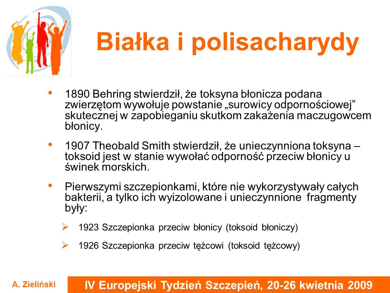 IV Europejski Tydzień Szczepień, 20-26 kwietnia 2009 A. Zieliński Białka i polisacharydy 1890 Behring stwierdził, że toksyna błonicza podana zwierzęto