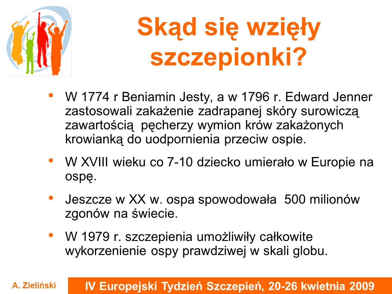 IV Europejski Tydzień Szczepień, 20-26 kwietnia 2009 A. Zieliński Skąd się wzięły szczepionki? W 1774 r Beniamin Jesty, a w 1796 r. Edward Jenner zast