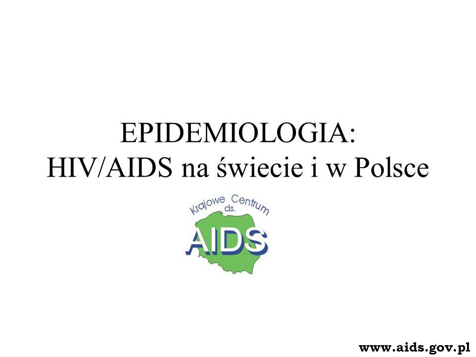 Szacunkowe dane epidemiologiczne HIV/AIDS na świecie (rok 2005) Liczba osób żyjących z HIV – 40,3 mln (36,7 – 45,3) dorośli – 38,0 mln (34,5 – 42,6) kobiety – 17,5 mln (16,2 – 19,3) dzieci (< 15.