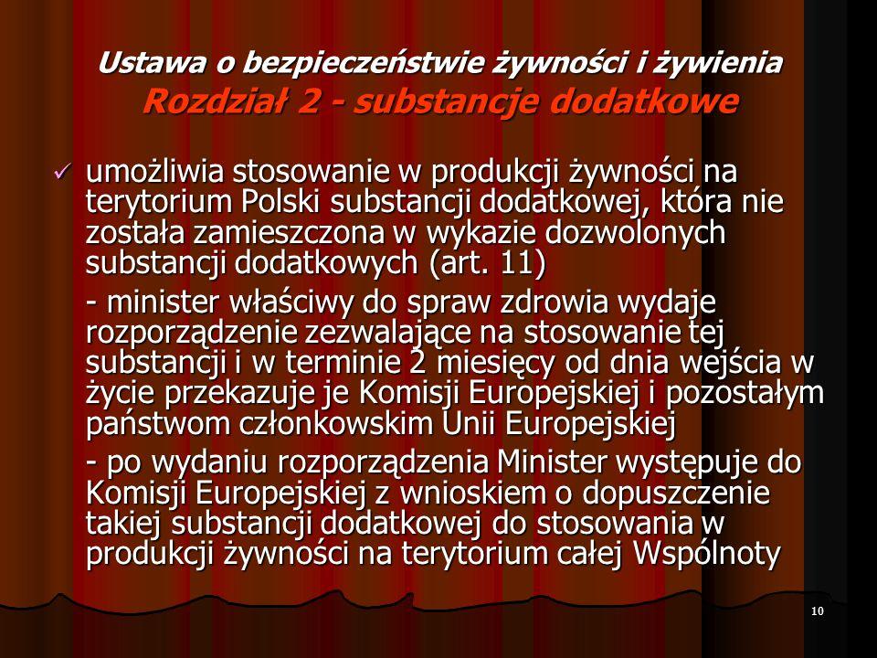 10 Ustawa o bezpieczeństwie żywności i żywienia Rozdział 2 - substancje dodatkowe umożliwia stosowanie w produkcji żywności na terytorium Polski subst