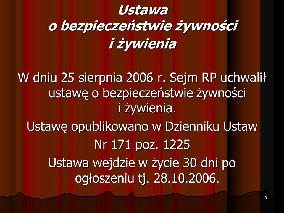3 W dniu 25 sierpnia 2006 r. Sejm RP uchwalił ustawę o bezpieczeństwie żywności i żywienia. Ustawę opublikowano w Dzienniku Ustaw Nr 171 poz. 1225 Ust