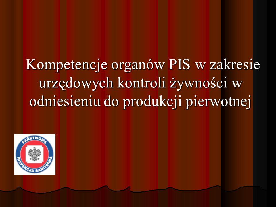 Kompetencje organów PIS w zakresie urzędowych kontroli żywności w odniesieniu do produkcji pierwotnej Kompetencje organów PIS w zakresie urzędowych ko