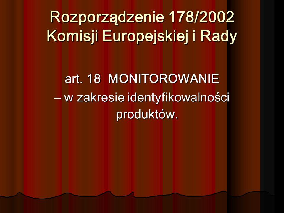 Rozporządzenie 178/2002 Komisji Europejskiej i Rady art. 18 MONITOROWANIE – w zakresie identyfikowalności produktów.