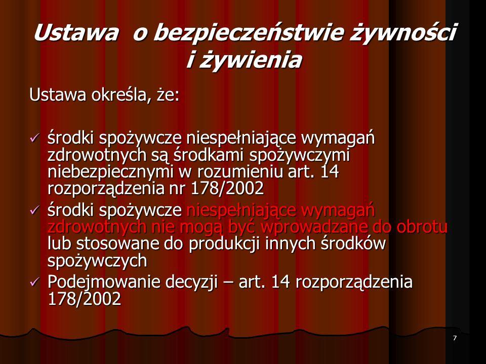 USTAWA o Inspekcji Weterynaryjnej art.3 ust.