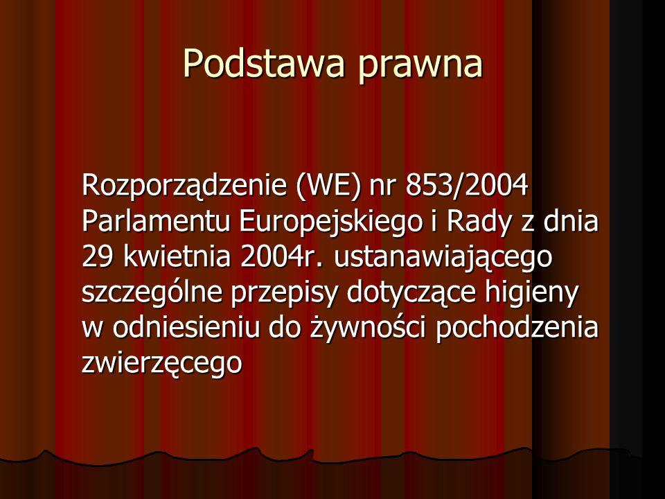 Podstawa prawna Rozporządzenie (WE) nr 853/2004 Parlamentu Europejskiego i Rady z dnia 29 kwietnia 2004r. ustanawiającego szczególne przepisy dotycząc