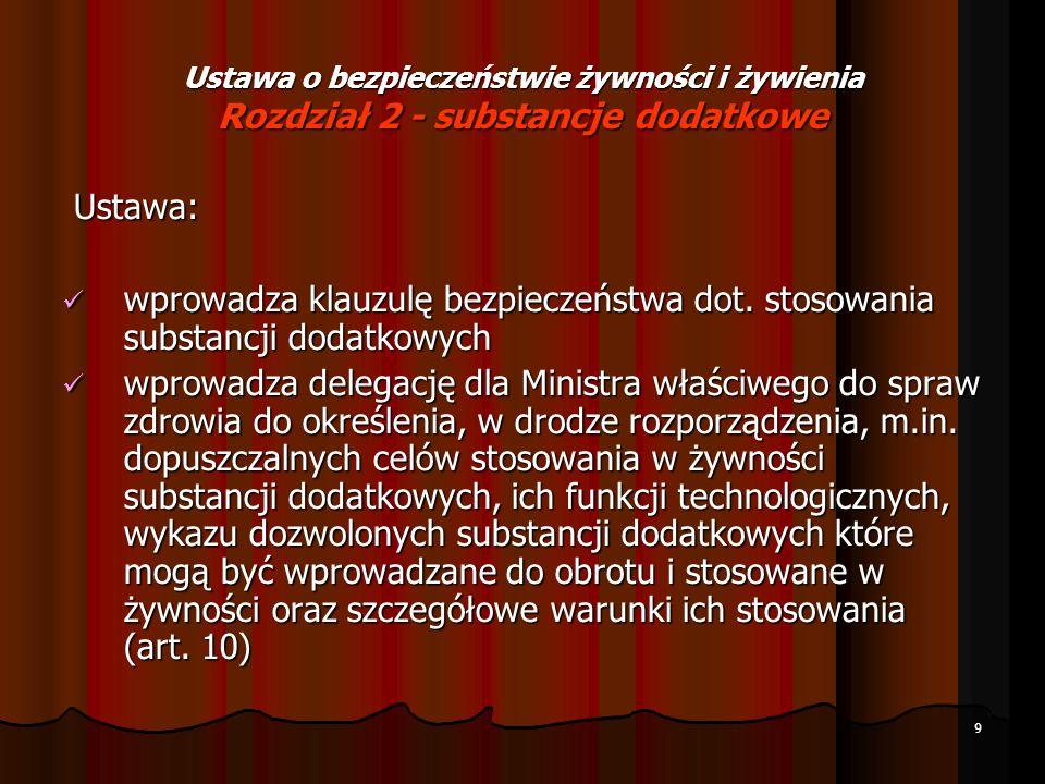 10 Ustawa o bezpieczeństwie żywności i żywienia Rozdział 2 - substancje dodatkowe umożliwia stosowanie w produkcji żywności na terytorium Polski substancji dodatkowej, która nie została zamieszczona w wykazie dozwolonych substancji dodatkowych (art.