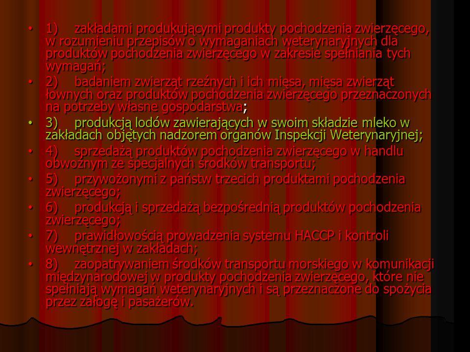 1)zakładami produkującymi produkty pochodzenia zwierzęcego, w rozumieniu przepisów o wymaganiach weterynaryjnych dla produktów pochodzenia zwierzęcego