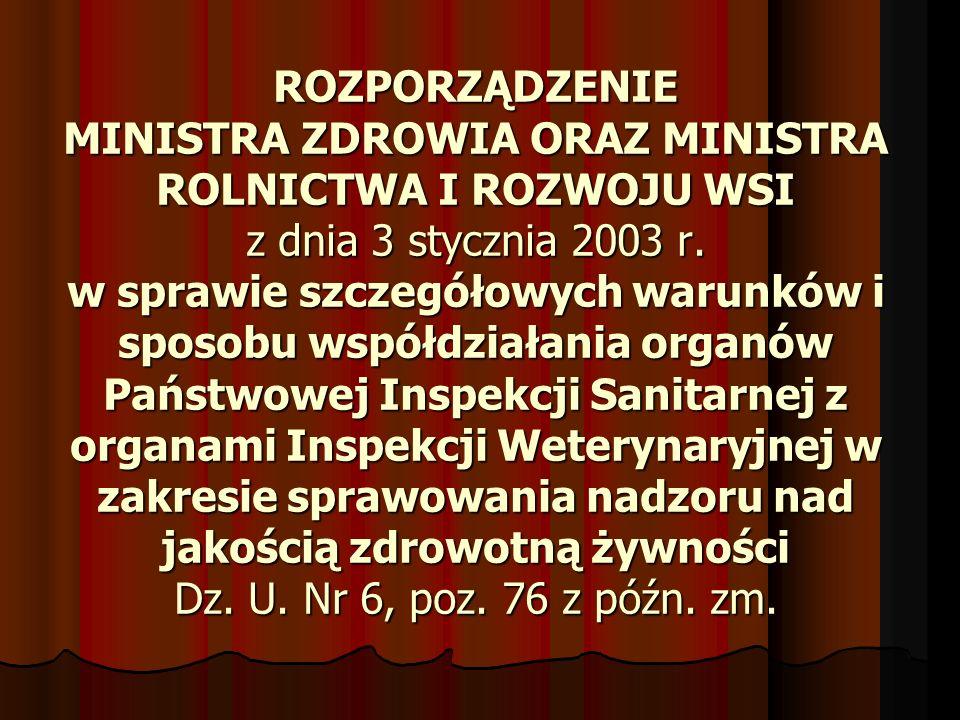 ROZPORZĄDZENIE MINISTRA ZDROWIA ORAZ MINISTRA ROLNICTWA I ROZWOJU WSI z dnia 3 stycznia 2003 r. w sprawie szczegółowych warunków i sposobu współdziała
