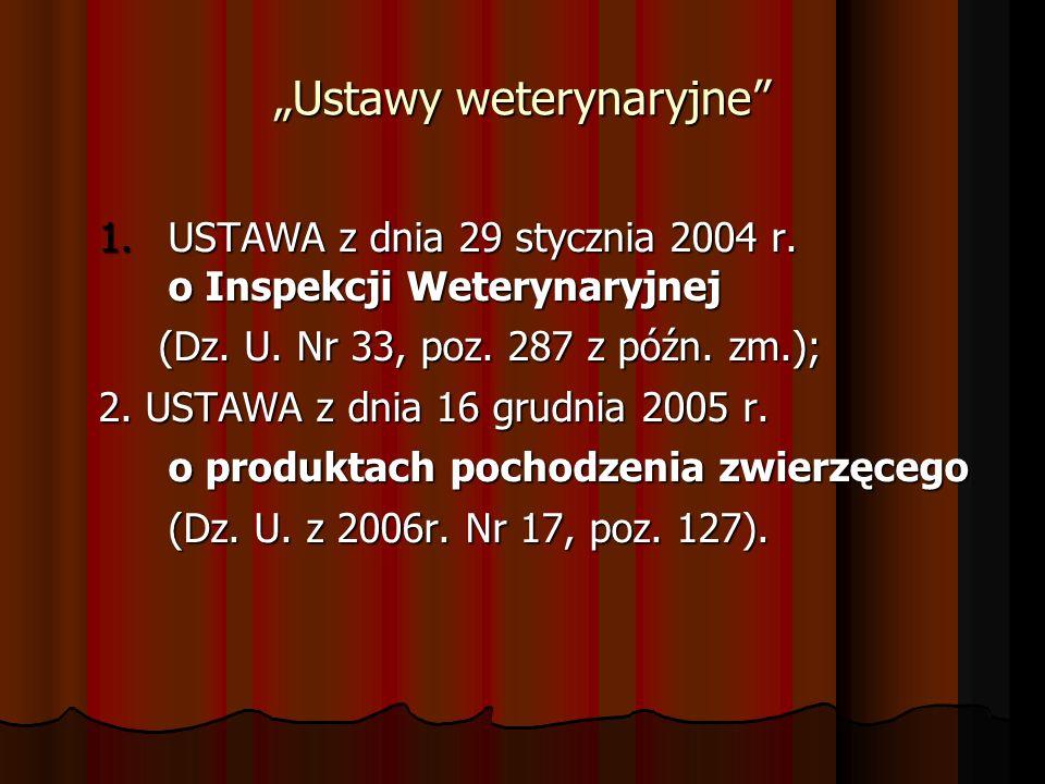 Ustawy weterynaryjne 1.USTAWA z dnia 29 stycznia 2004 r. o Inspekcji Weterynaryjnej (Dz. U. Nr 33, poz. 287 z późn. zm.); (Dz. U. Nr 33, poz. 287 z pó