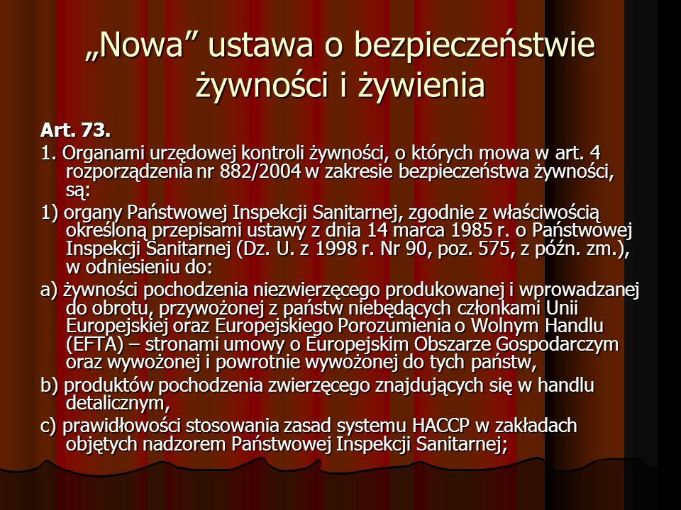 Nowa ustawa o bezpieczeństwie żywności i żywienia Art. 73. 1. Organami urzędowej kontroli żywności, o których mowa w art. 4 rozporządzenia nr 882/2004