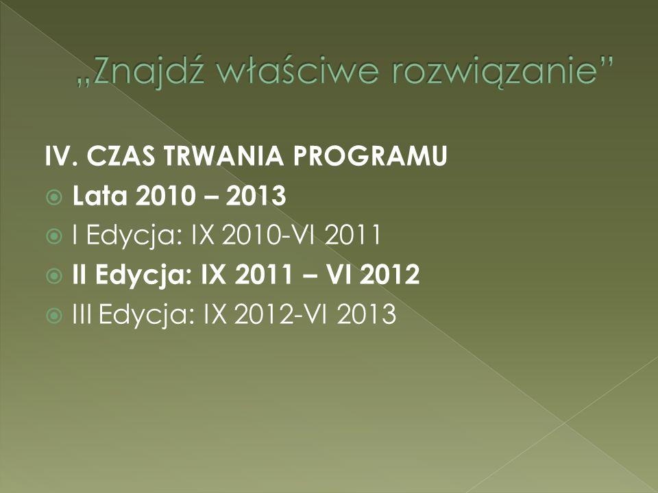 IV. CZAS TRWANIA PROGRAMU Lata 2010 – 2013 I Edycja: IX 2010-VI 2011 II Edycja: IX 2011 – VI 2012 III Edycja: IX 2012-VI 2013