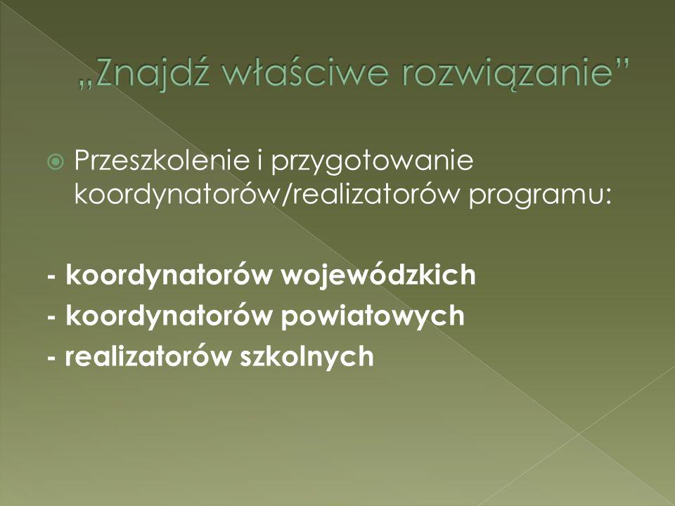 Przeszkolenie i przygotowanie koordynatorów/realizatorów programu: - koordynatorów wojewódzkich - koordynatorów powiatowych - realizatorów szkolnych