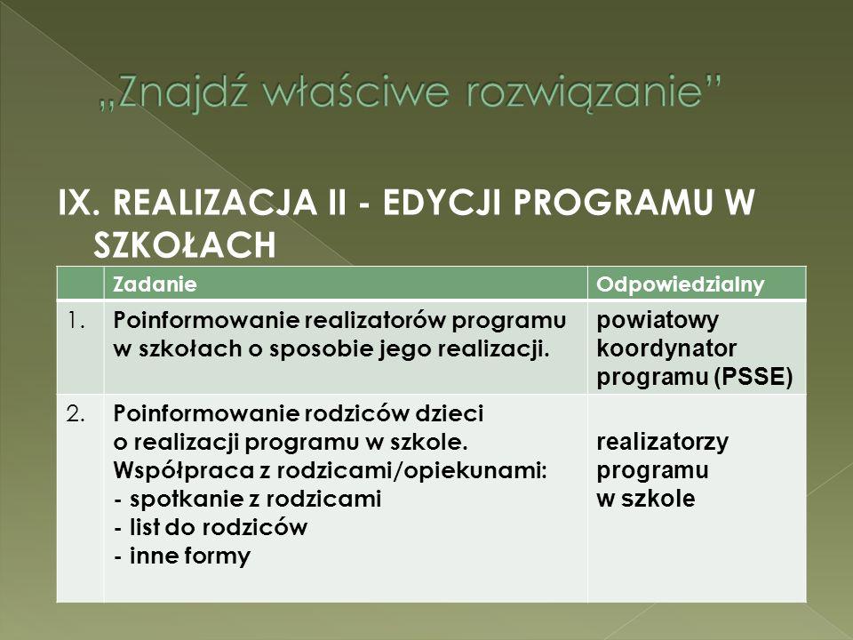 IX. REALIZACJA II - EDYCJI PROGRAMU W SZKOŁACH ZadanieOdpowiedzialny 1. Poinformowanie realizatorów programu w szkołach o sposobie jego realizacji. po