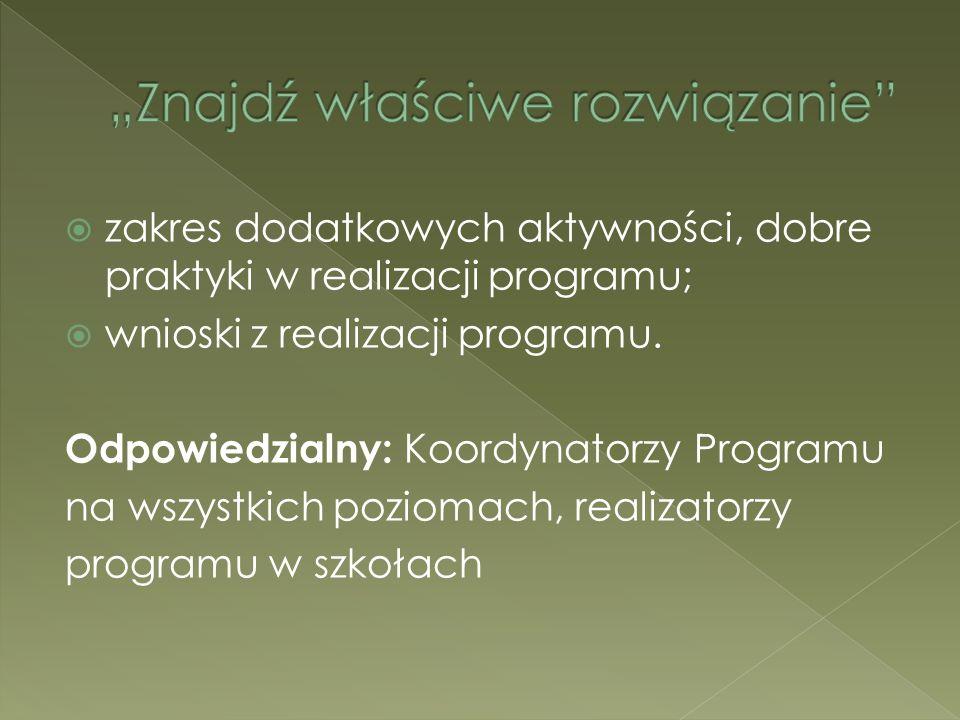 zakres dodatkowych aktywności, dobre praktyki w realizacji programu; wnioski z realizacji programu. Odpowiedzialny: Koordynatorzy Programu na wszystki