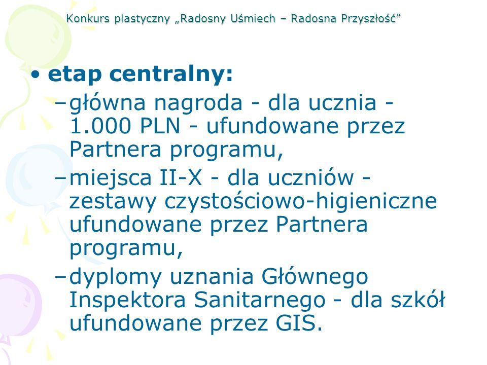 Konkurs plastyczny Radosny Uśmiech – Radosna Przyszłość etap centralny: –główna nagroda - dla ucznia - 1.000 PLN - ufundowane przez Partnera programu,