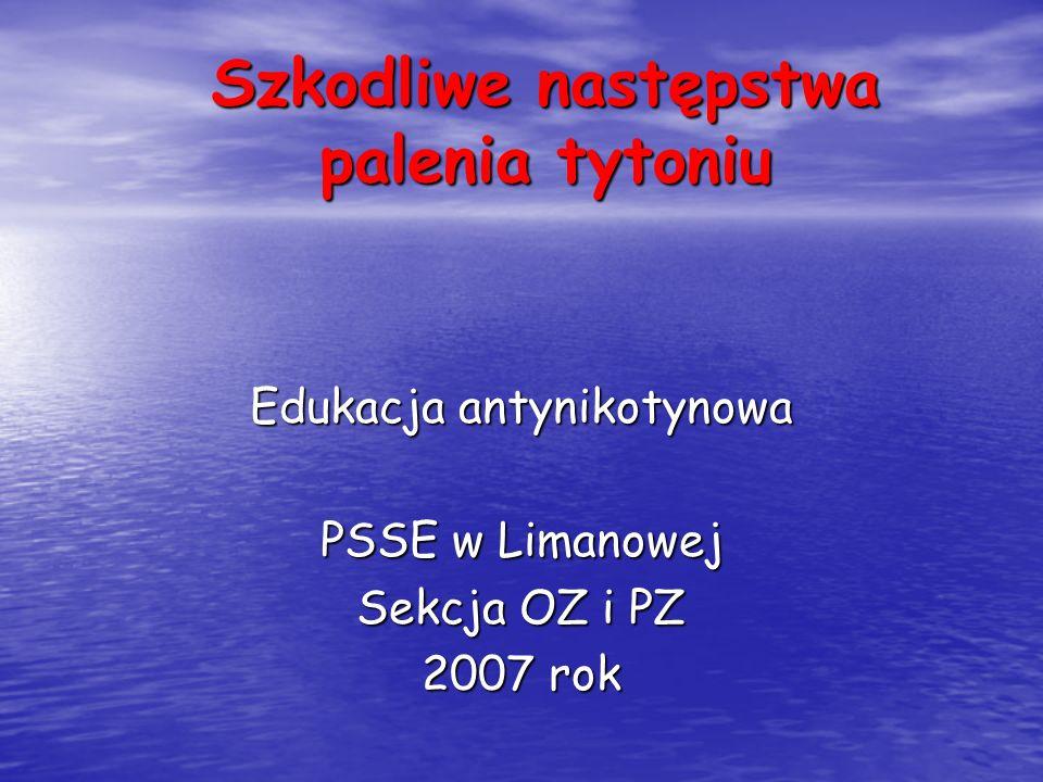 Szkodliwe następstwa palenia tytoniu Edukacja antynikotynowa PSSE w Limanowej Sekcja OZ i PZ 2007 rok