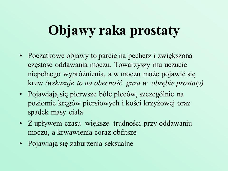 Objawy raka prostaty Początkowe objawy to parcie na pęcherz i zwiększona częstość oddawania moczu. Towarzyszy mu uczucie niepełnego wypróżnienia, a w