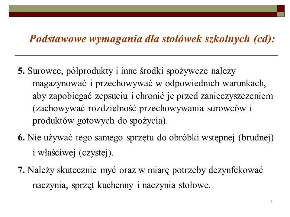 7 Podstawowe wymagania dla stołówek szkolnych (cd): 5. Surowce, półprodukty i inne środki spożywcze należy magazynować i przechowywać w odpowiednich w