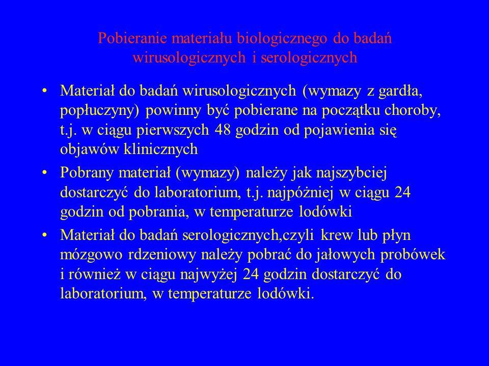 Pobieranie materiału biologicznego do badań wirusologicznych i serologicznych Materiał do badań wirusologicznych (wymazy z gardła, popłuczyny) powinny