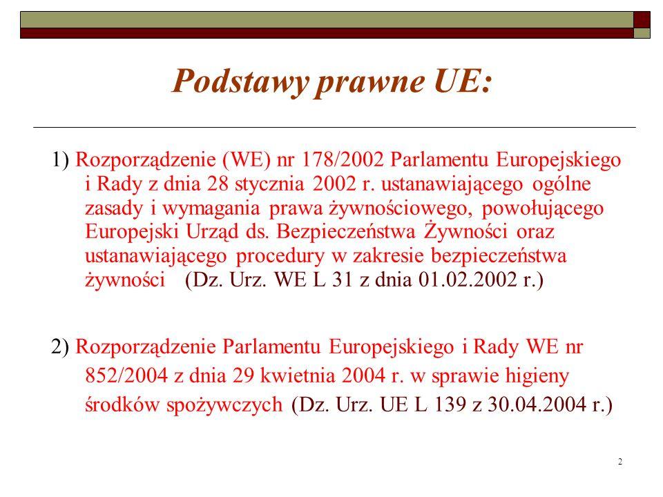 2 Podstawy prawne UE: 1) Rozporządzenie (WE) nr 178/2002 Parlamentu Europejskiego i Rady z dnia 28 stycznia 2002 r.