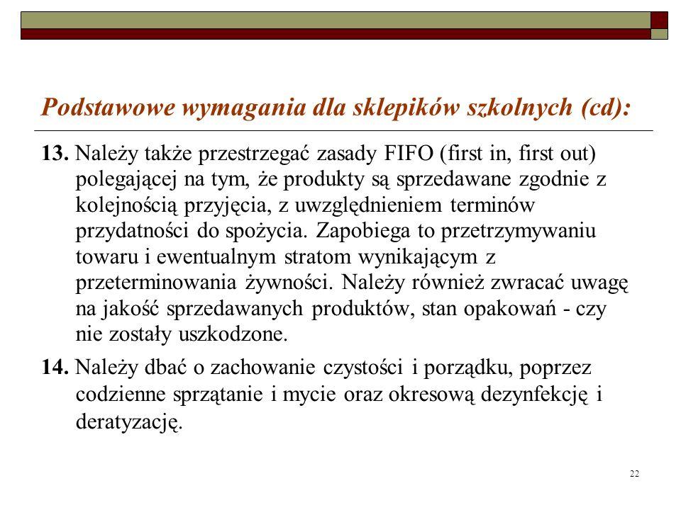 22 Podstawowe wymagania dla sklepików szkolnych (cd): 13.