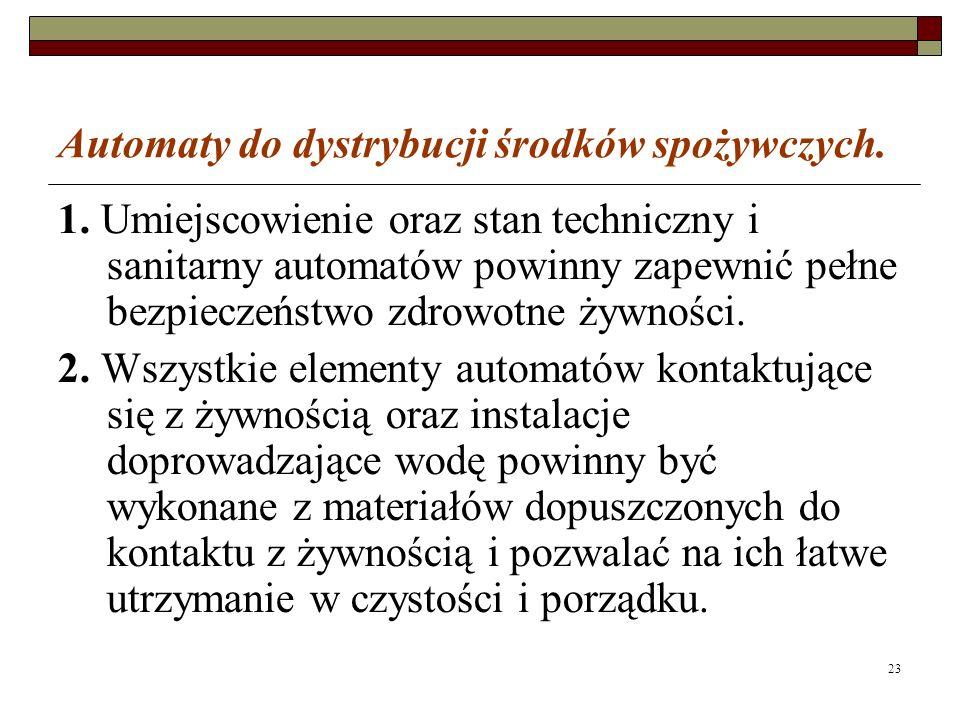23 Automaty do dystrybucji środków spożywczych. 1.