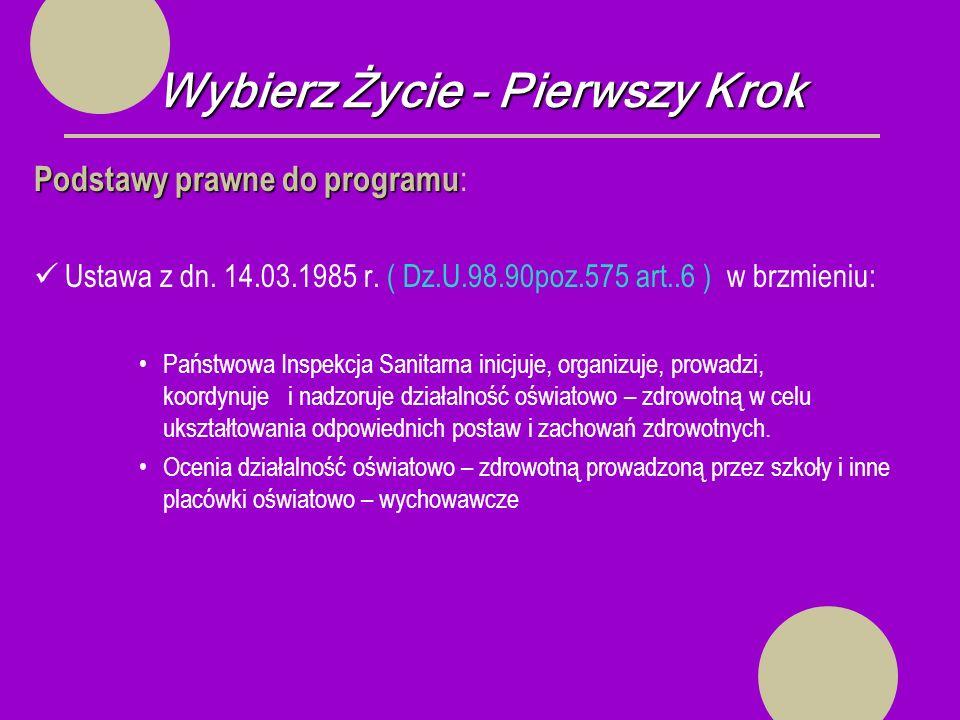 Wybierz Życie – Pierwszy Krok Podstawy prawne do programu Podstawy prawne do programu : Ustawa z dn.
