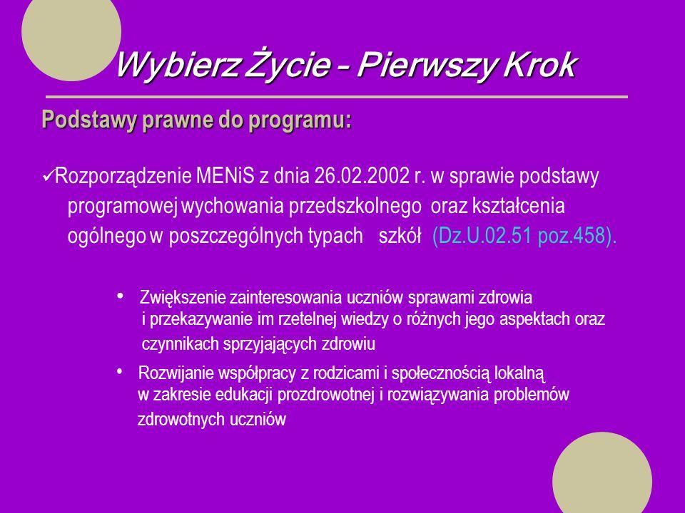 Wybierz Życie – Pierwszy Krok Podstawy prawne do programu: Rozporządzenie MENiS z dnia 26.02.2002 r.