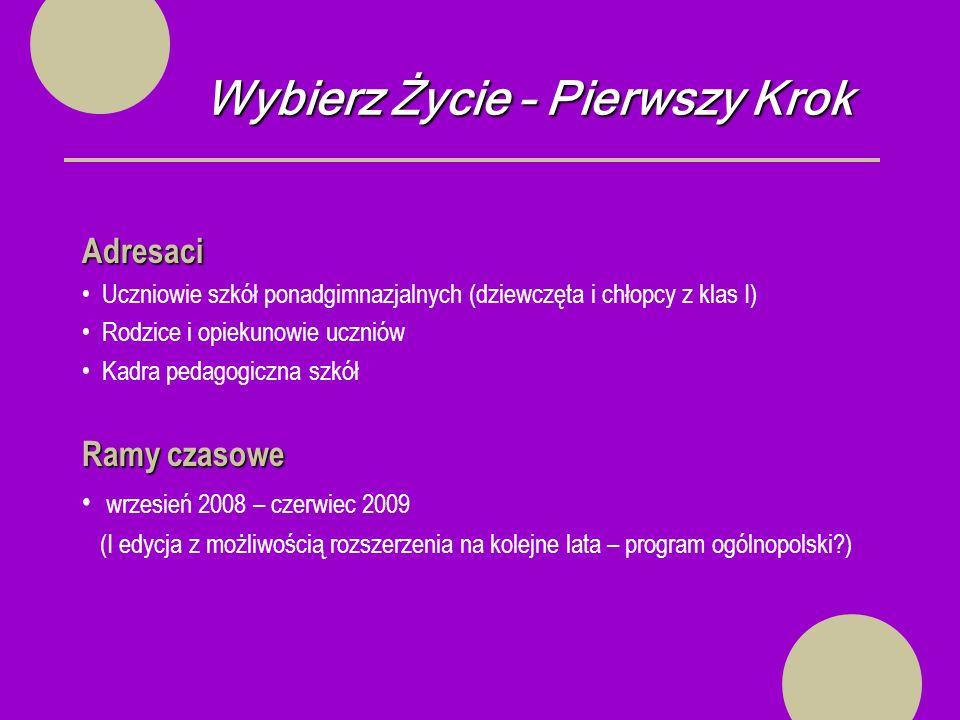 Wybierz Życie – Pierwszy Krok Sprawozdanie koordynatora szkolnego - 31.V.2009 r.