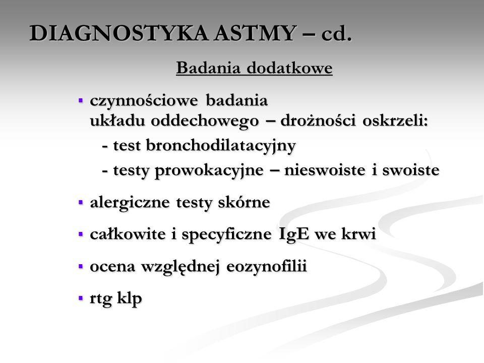 DIAGNOSTYKA ASTMY – cd. Badania dodatkowe czynnościowe badania układu oddechowego – drożności oskrzeli: czynnościowe badania układu oddechowego – droż