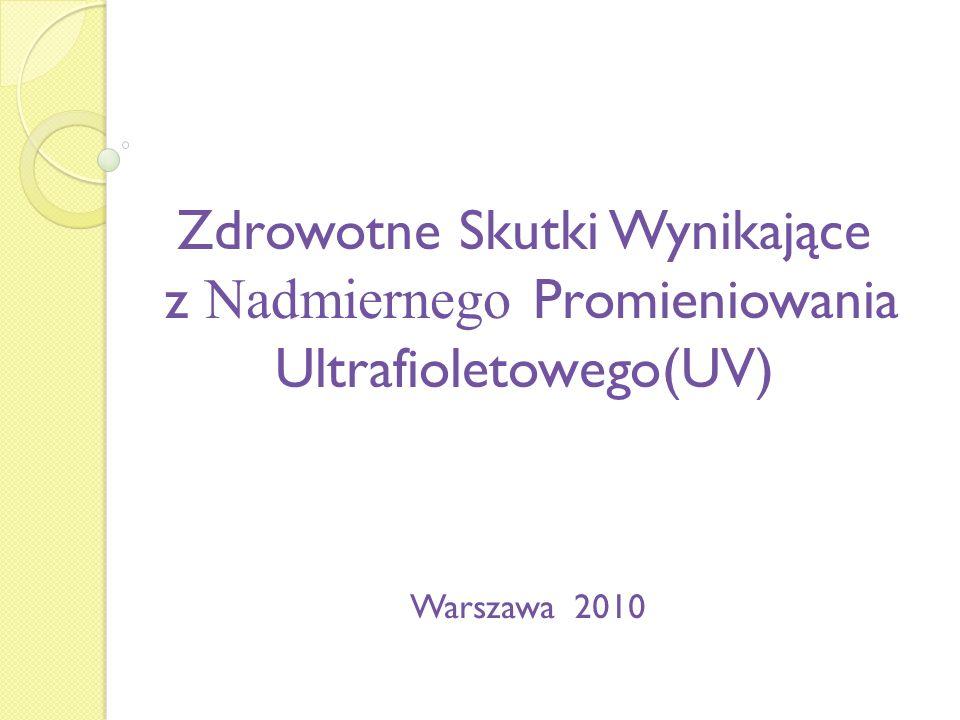 Zdrowotne Skutki Wynikające z Nadmiernego Promieniowania Ultrafioletowego(UV) Warszawa 2010