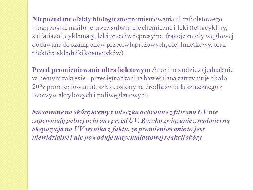 Niepożądane efekty biologiczne promieniowania ultrafioletowego mogą zostać nasilone przez substancje chemiczne i leki (tetracykliny, sulfatiazol, cykl