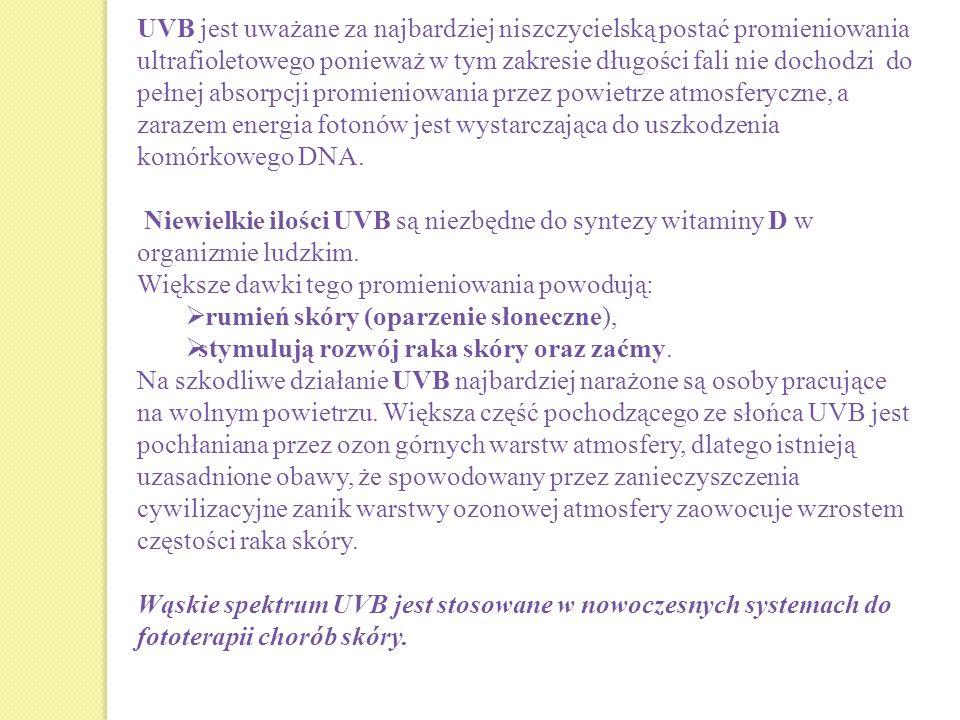 UVB jest uważane za najbardziej niszczycielską postać promieniowania ultrafioletowego ponieważ w tym zakresie długości fali nie dochodzi do pełnej abs