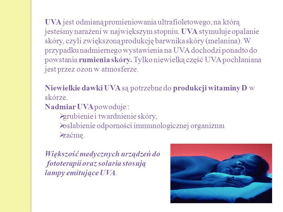 UVA jest odmianą promieniowania ultrafioletowego, na którą jesteśmy narażeni w największym stopniu. UVA stymuluje opalanie skóry, czyli zwiększoną pro