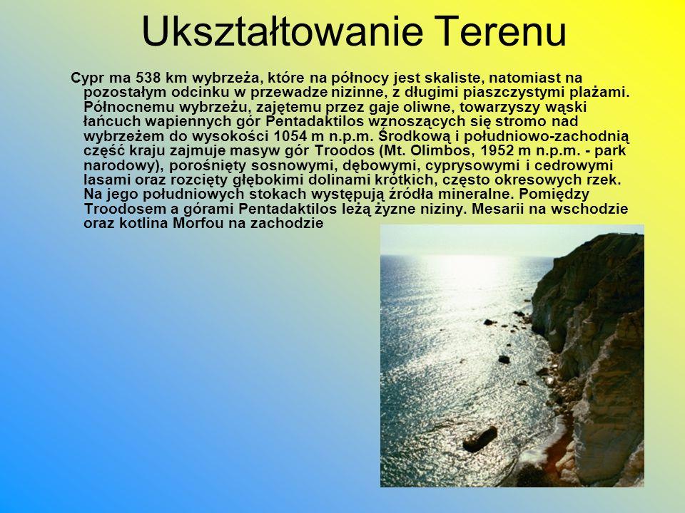 Ukształtowanie Terenu Cypr ma 538 km wybrzeża, które na północy jest skaliste, natomiast na pozostałym odcinku w przewadze nizinne, z długimi piaszczy