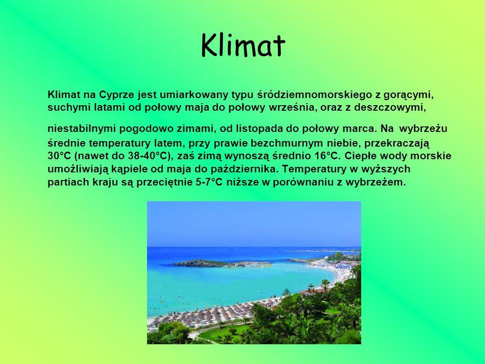 Klimat Klimat na Cyprze jest umiarkowany typu śródziemnomorskiego z gorącymi, suchymi latami od połowy maja do połowy września, oraz z deszczowymi, ni
