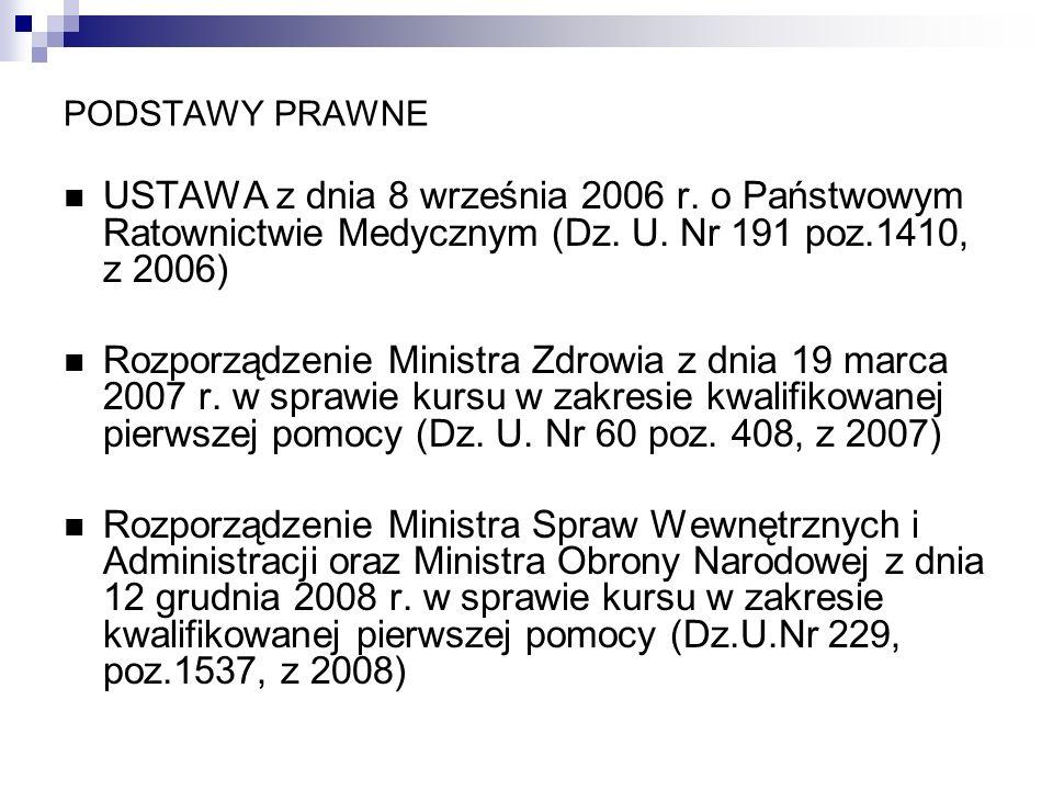 PODSTAWY PRAWNE USTAWA z dnia 8 września 2006 r. o Państwowym Ratownictwie Medycznym (Dz. U. Nr 191 poz.1410, z 2006) Rozporządzenie Ministra Zdrowia