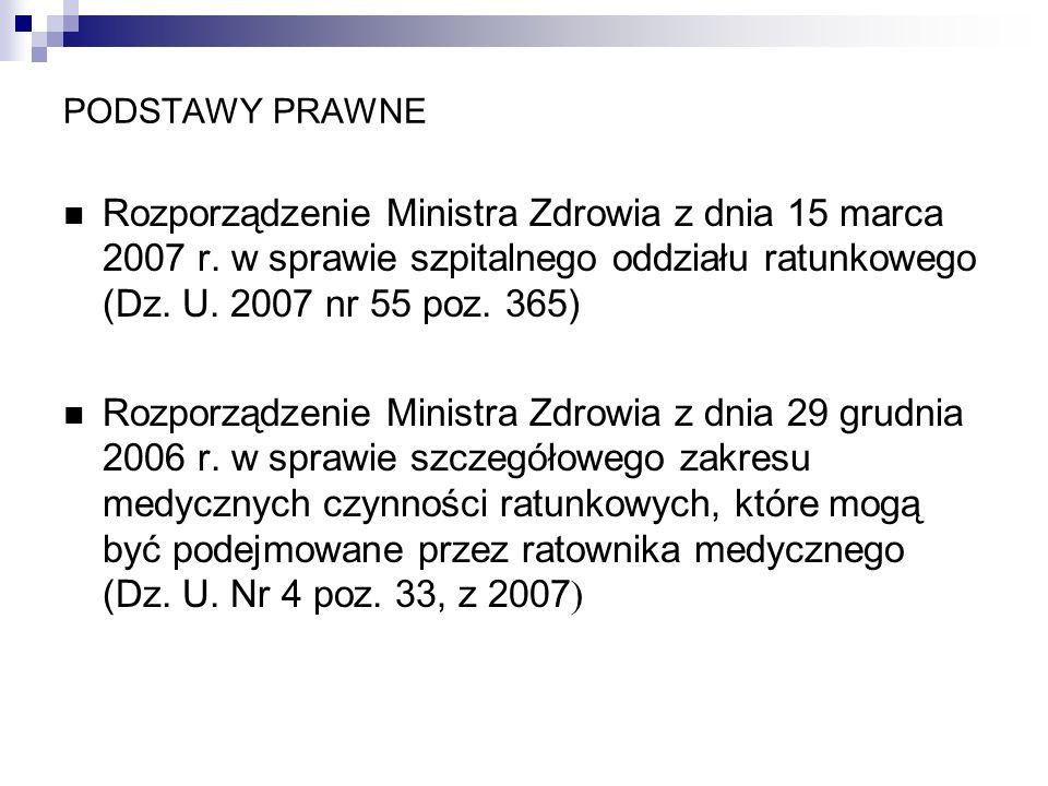 PODSTAWY PRAWNE Rozporządzenie Ministra Zdrowia z dnia 15 marca 2007 r. w sprawie szpitalnego oddziału ratunkowego (Dz. U. 2007 nr 55 poz. 365) Rozpor