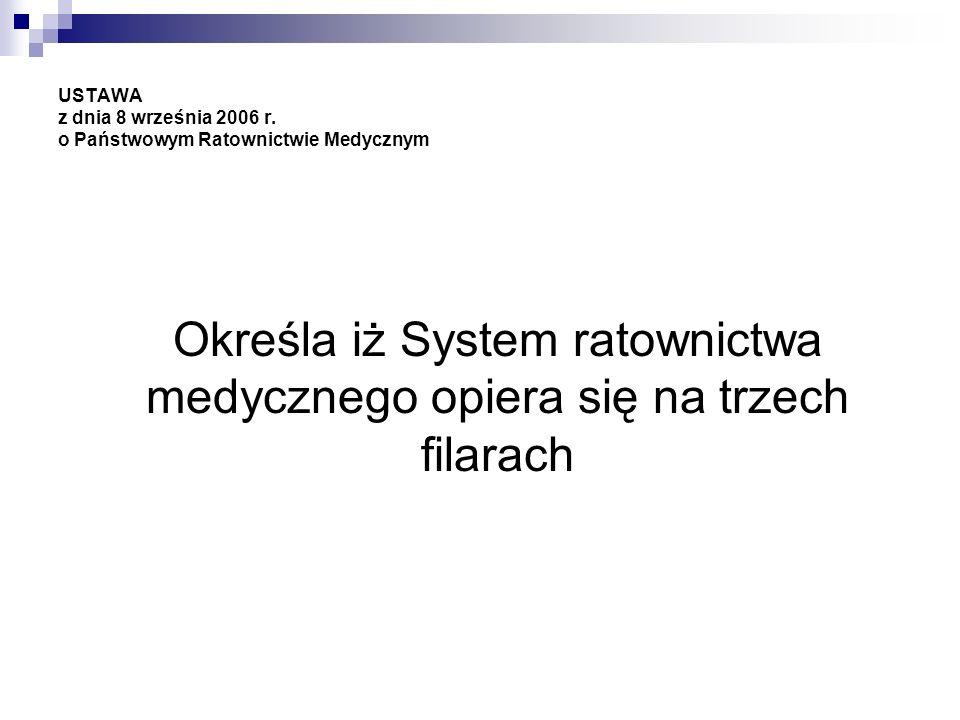 USTAWA z dnia 8 września 2006 r. o Państwowym Ratownictwie Medycznym Określa iż System ratownictwa medycznego opiera się na trzech filarach