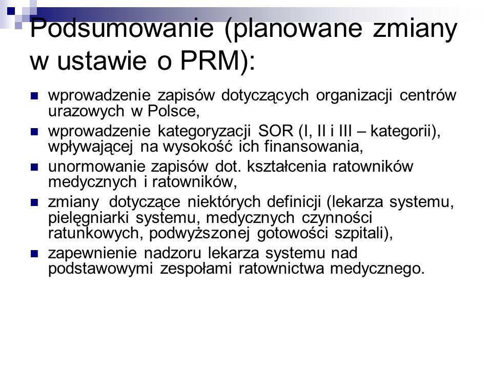 Podsumowanie (planowane zmiany w ustawie o PRM): wprowadzenie zapisów dotyczących organizacji centrów urazowych w Polsce, wprowadzenie kategoryzacji S