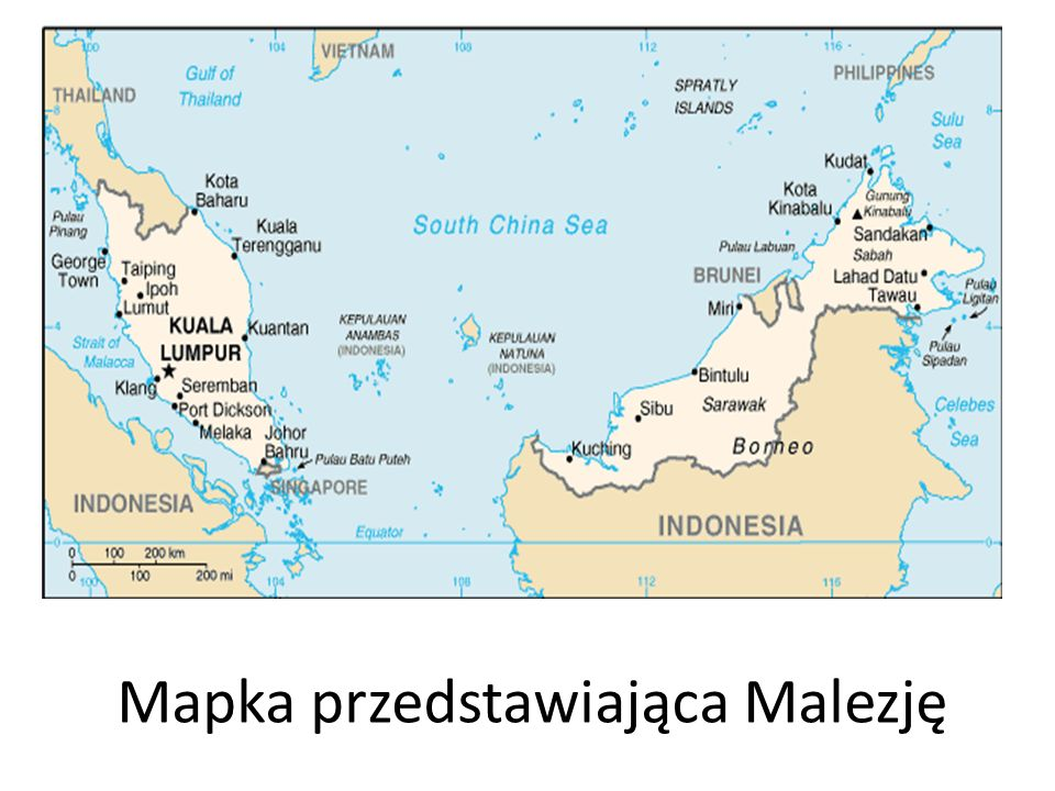 Mapka przedstawiająca Malezję