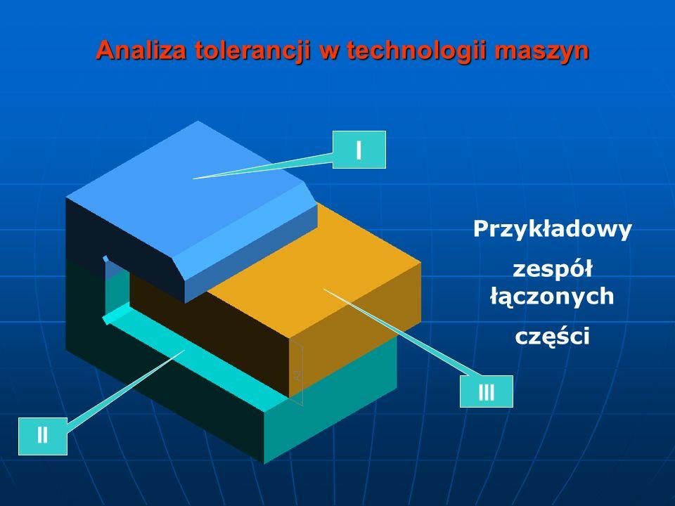 Analiza tolerancji w technologii maszyn Przykładowy zespół łączonych części I III II