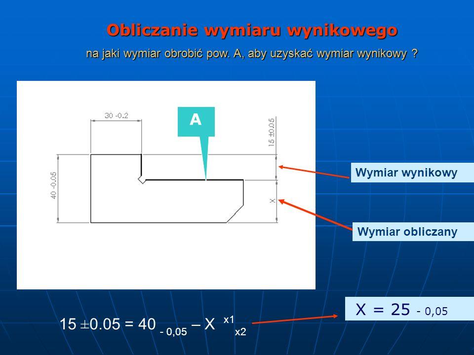 15 ±0.05 = 40 - 0,05 – X x1 x2 Obliczanie wymiaru wynikowego na jaki wymiar obrobić pow. A, aby uzyskać wymiar wynikowy ? A X = 25 - 0,05 Wymiar wynik