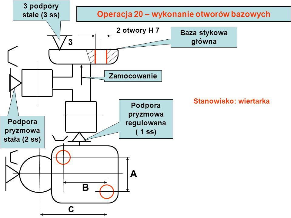Operacja 20 – wykonanie otworów bazowych 2 otwory H 7 3 A B C Podpora pryzmowa stała (2 ss) Podpora pryzmowa regulowana ( 1 ss) Zamocowanie Baza styko