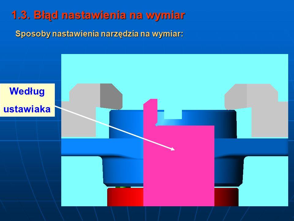 1.3. Błąd nastawienia na wymiar Według ustawiaka Sposoby nastawienia narzędzia na wymiar: