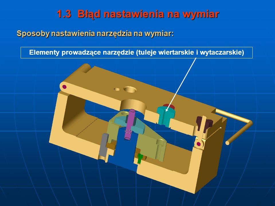 1.3 Błąd nastawienia na wymiar Elementy prowadzące narzędzie (tuleje wiertarskie i wytaczarskie) Sposoby nastawienia narzędzia na wymiar:
